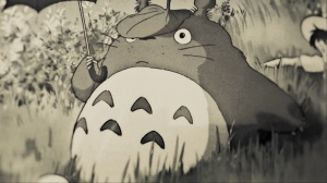 A picture of Totoro taken from the cover of the movie 'Totoro' (Studio Ghibli).