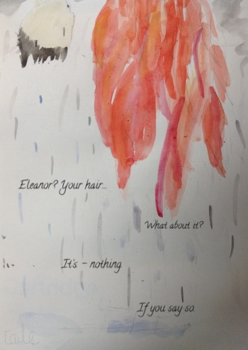 Cartoon Eleanor and Park (from Eleanor & Park, no way) hanging upside down in the rain, because I wanted to paint Eleanor's hair
