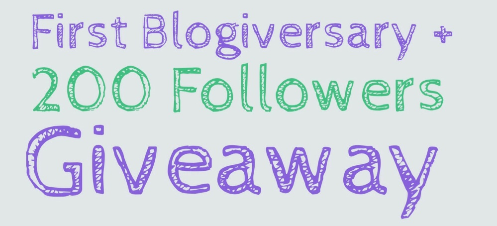 First Blogiversary + 200 Followers Giveaway!  (1/2)