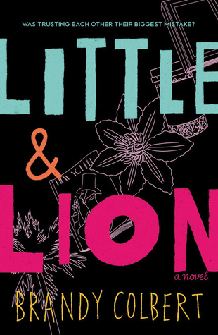 Cover of Little & Lion by Brandy Colbert. The words 'Little & Lion' over a flat line illustration of a palm tree, a magazine, a flower, a coffee cup, and a book.