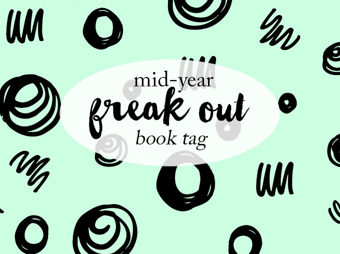 The text 'mid-year freak out book tag' over a pastel green background with various squiggles and scribbles.