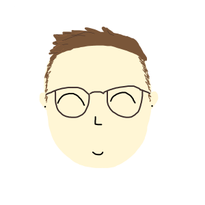 Drawing of a face. The person, Eve, has pale skin, glasses and short brown hair.
