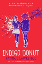 Cover of Indigo Donut by Patrice Lawrence. A purple illustration of a girl wearing headphones with sharp white lines exploding from her side. She stands next to a boy with butterflies and music notes floating up from his shoulder.