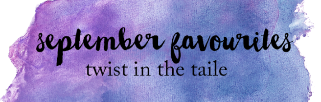 The words September Favourites over a purple watercolour background