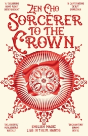 Cover of Sorcerer to the Crown by Zen Cho. Red illustration of a flower-like crest over a red background with ornate red lettering for the title.
