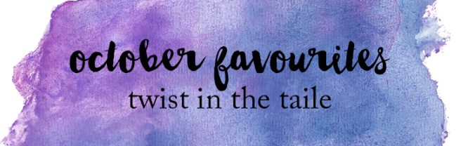 The words September Favourites over a purple watercolour splash.