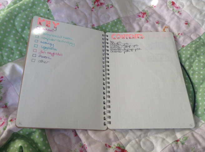 An open notebook double page. On the left page a key listing categories such as 'school', 'blog', and, 'activity' in different colours. On the right a contents page listing months.