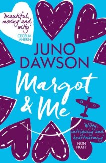 Cover of Margot & Me by Juno Dawson. The title in a brush font over a blue background with purple hearts all around and an illustration of a purple aeroplane.