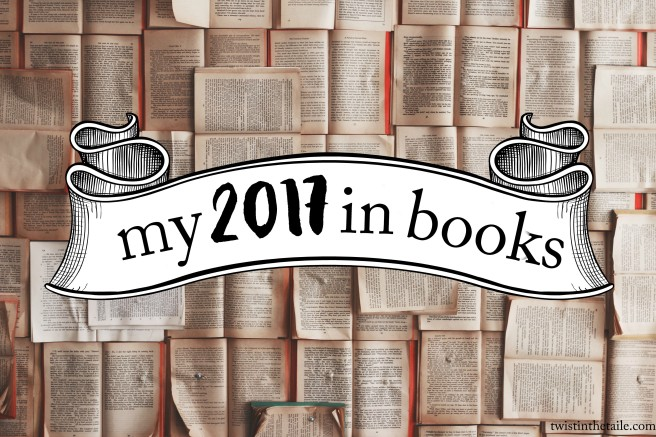 Background of many open books, with the title 'My 2017 in Books' written on a banner.