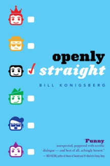 Cover of Openly Straight by Bill Konigsberg. Different illustrated icons of a face along the side, with a tick next to the icon with no accessories.