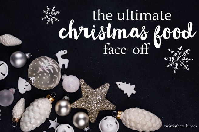 White and silver decorations on a black background with the title text 'The Ultimate Christmas Food Face-off' and illustrations of snowflakes.