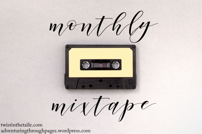 A cassette tape with the words 'monthly mixtape' in a brush script above and below.