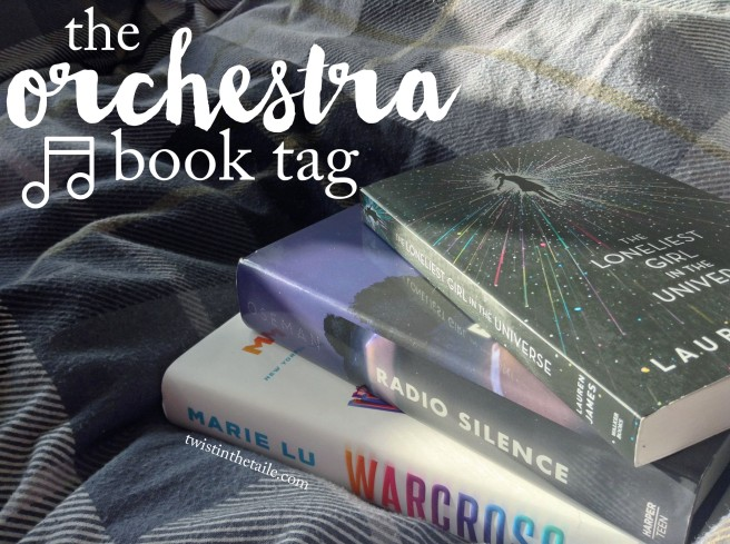 The words 'orchestra book tag' with a music note icon beside. A photo of the books The Loneliest Girl in the Universe, Radio Silence and Warcross in a pile on a checked blue duvet cover.