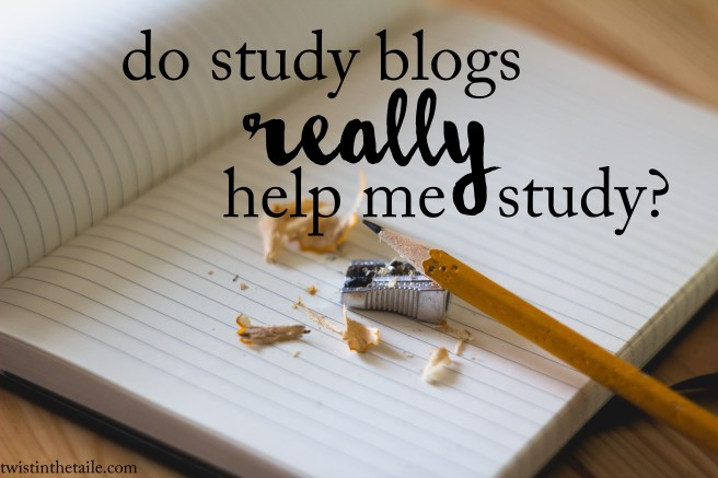 A yellow pencil, pencil sharpener and pencil shavings on a blank lined notebook. The words 'do study blogs really help me study?'
