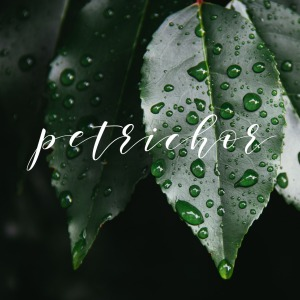 A close up of two green leaves with water droplets on them. The word 'petrichor' in a script font.