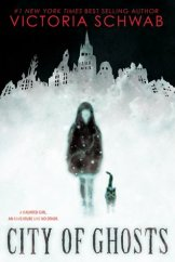 Cover of City of Ghosts by Victoria Schwab. Illustration of the silhouette of a person and a cat, in front of the outline of a glowing white city.