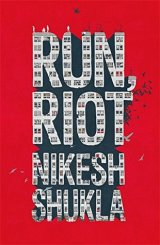 Cover of Run, Riot by Nikesh Shukla. The title and author in bold text on a red backgroyund. The letters are made up of the windows of an apartment building. Small illustrations of people stand on top of the letters and birds fly in front.