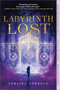 Cover of Labyrinth Lost. The silhouette of a figure standing before gates with a skull on.