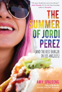 Cover of The Summer of Jordi Perez. Photo of a girl with pink hair and sunglasses eating a burger.