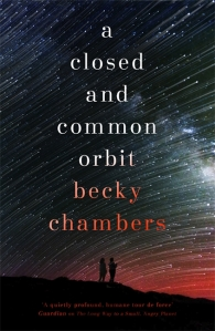 Cover of A Closed and Common Orbit. Two silhouettes looking up at a red and white star-streaked sky.