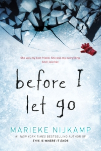 Cover of Before I Let Go. A photo of ice which is broken at the top. A red glove lies next to the broken ice.