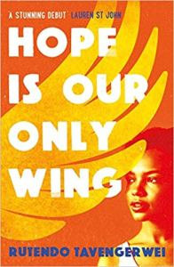 Cover of Hope is Our Only Wing. Illustration of a yellow wing next to an orange-tinted photo of a person's face looking outwards. The title is in large block letters.