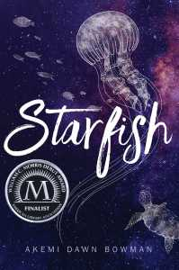 Cover of Starfish. Drawings of a jellyfish, turtle and small fish over a starry sky.