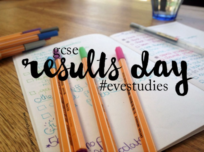 Coloured pens strewn over a notebook, with the text 'GCSE results day #evestudies'.