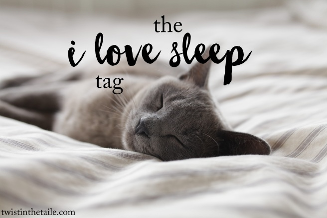 A photo of a sleeping cat stretched out with the words 'The I Love Sleep Tag'.