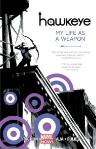 Cover of Hawkeye: My Life as a Weapon. Hawkeye stands with his bown drawn on a building. Stylised purple and white targets overlay the buildings.