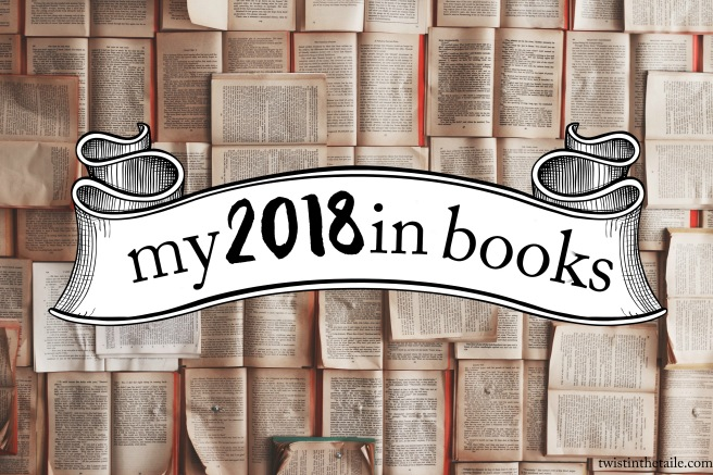 The text 'My 2018 in books' on an old-fashioned illustrated banner, over a spread of open books.