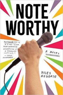Cover of Noteworthy by Riley Redgate. An explosion of colour around a hand holding up a microphone.