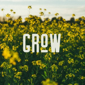 A field of yellow flowers with the text 'grow'.