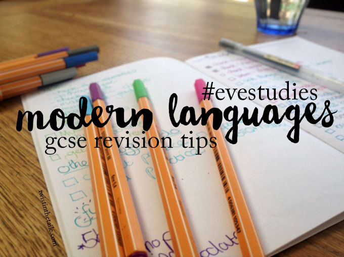 The text '#evestudies modern languages gcse revision tips' over a photo of a notebook strewn with coloured pens.