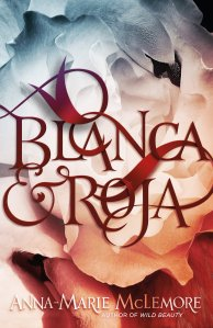 Cover of Blanca & Roja. Abstract illustration of a swan turning into petals and the title in fairy-tale font.