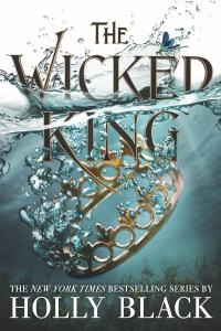 Cover of The Wicked King. A side view of a crown splashing down and sinking into the water. The title is half-submerged in water.