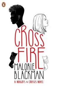 Cover of Crossfire. A blac figure with short hair and a white figure with long hair stand back to back. Their shirts are made up of the title letters in red.