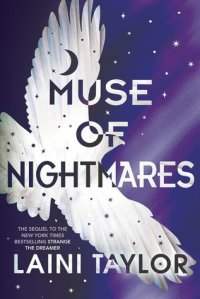Cover of Muse of Nightmares. A white bird flies across a purple starry sky.