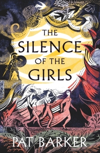Cover of the Silence of the Girls. Four women are depicted running, with storm clouds, plants an abstract waves surrounding the outside of the cover. An Ancient Greek hero on a plinth stands out in the background.